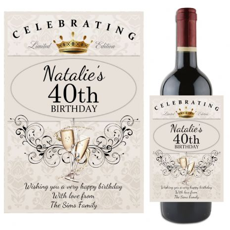 Personalised Happy Birthday Wine Champagne Bottle Label